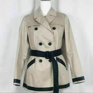 THEORY Cropped Trench Coat Beige Black Zip Pockets